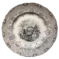 1860 Large Staffordshire * Park Scenery * Black Transferware Plate