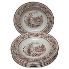 1882 ~ SIX English Transfer Salad Pasta Rice Bowls ~ DAFFODIL