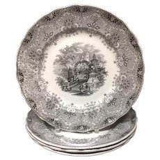 1860 ~ Four Large Staffordshire  Park Scenery  Black Transferware Plates