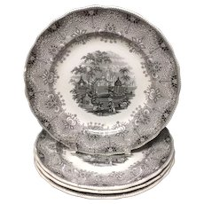 1860 ~ FOUR Staffordshire Park Scenery Black Transferware Plates