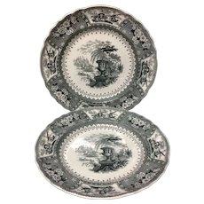 1840 ~ TWO Black Staffordshire Large Transferware Plates ~ CANOVA Pattern
