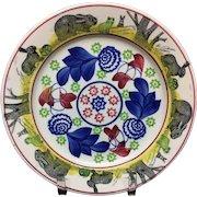 c 1900 ~ Stick Spatter Spongeware Rabbit ware Ironstone Plate ~ Bulls-Eye