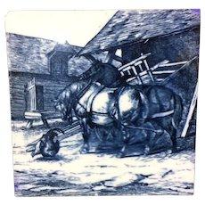 1879 ~ William Wise Minton Tile ~ Farm Horses