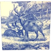 1879 ~ William Wise Transfer Printed Minton Tile ~ Resting Deer