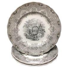 1860 ~ Four Outstanding Staffordshire  Park Scenery  Black Transferware Plates