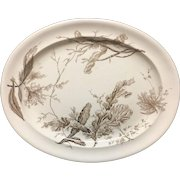 1883 ~ Aesthetic Brown Transferware Large Platter ~ Seaweed Pattern