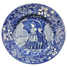 1898 ~ Wedgwood Months Plate ~ APRIL ~ Ship Harbor