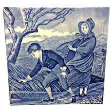 1879 ~ Wedgwood Months Tile ~ March ~ Chasing Hat