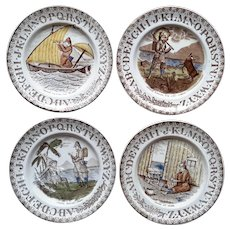 1880 ~ Staffordshire 19th Century ABC Nursery Plates ~ Robinson Crusoe