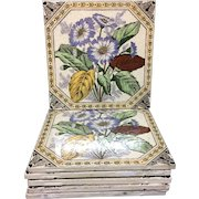 1885 ~ Four Victorian Brown Transferware Tiles ~ Hand Painted