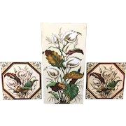 Rare Victorian Tall Brown Transferware Tile ~ CALLA LILIES 1887