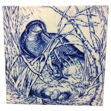 1876 ~ Wedgwood Hunting Game Tile ~ Water Fowl & Duck Nest