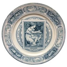 1875  ~ Wedgwood Blue Transferware Plate ~ Eat To Live  ~ Thomas Allen Designer