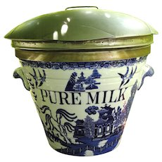 Pure Milk English c 1885 Pail ~ Early Flow Blue Willow Pattern
