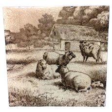 Minton Tile ~ Wm Wise Farm ~ Sheep & Cow 1879