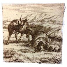William Wise Farm Goats Tile 1879