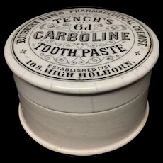 Quack Medicine Tench's Carbolic Tooth Paste Pot and Lid 1885