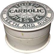 1885 Quack Medicine Carbolic Tooth Paste Pot and Lid 1885
