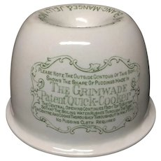 1888 patented English Ironstone Advertising Meat Pudding Cooker Mold