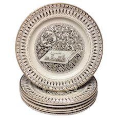 SIX Brown Transferware Staffordshire Plates ~ CANTERBURY 1885