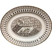 Brown Transferware Victorian Bacon Platter ~ Canterbury 1883