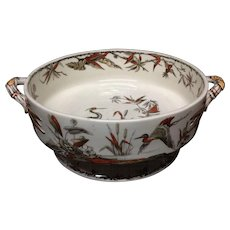 1885 ~ Fruit Bowl Round Brown Transferware BIRDS  ~ Indus 1885