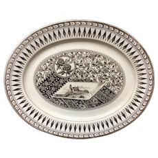 19th Century Brown Transferware Platter ~ CANTERBURY 1883