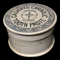 Quack Medicine ~ Carbolic Tooth Paste Pot and Lid ~ 1885