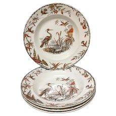 1885 ~ INDUS ~ Set of 4 Victorian Polychrome Large Soups ~ 1885