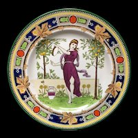1891 ~ Superb Wedgwood Polychrome Plate ~ Greek Dancer ~ 1891