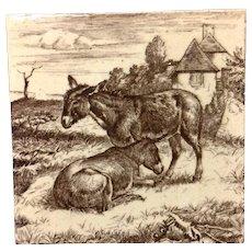1879 ~ William Wise Brown Transfer Printed Minton Tile ~ Burro 1879