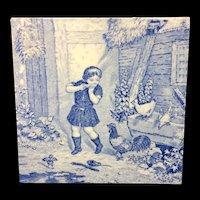 1880 ~ Tile Children Rural Life Victorian Chickens ~ 1879