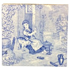 1880 ~ Tile Children Rural Life Victorian Cat ~ 1879