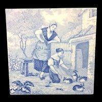 1880 ~ Tile Children Rural Life Victorian Rabbits ~ 1879