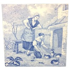 1880 ~ Tile Children Rural Life Victorian Rabbits ~ 1879