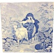 1880 ~ Tile Children Rural Life Victorian Goat ~ 1879