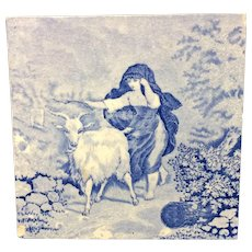 1880 ~ Tile Children Rural Life Victorian Goat ~ 1879
