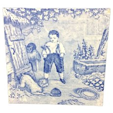 1880 ~ Tile Children Rural Life Victorian Bird Dog ~ 1879