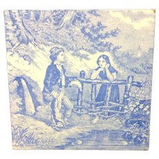 1880 ~ Tile Children Rural Life Victorian Hunting ~ 1879