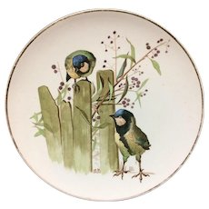 Pierre Mallet Polychrome ORNITHOLOGY Pottery Plate ~ 1870
