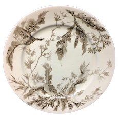1883 Brown Wedgwood Staffordshire Plate ~ SEAWEED 1883