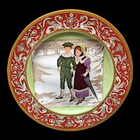 1906 ~ Wedgwood Months Plate ~ FEBRUARY ~ Winter Walk