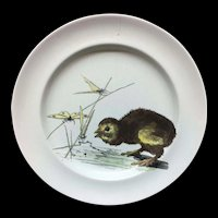 RARE Pierre Mallet and Leonce Transferware Plate ~ Duckling and Dragonflies 1870