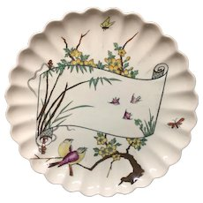 1879 Antique Aesthetic Movement Plate ~ Birds and Butterflies 1879