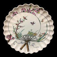 1877 Victorian Aesthetic Movement Plate ~ Butterfly and Birds 1877