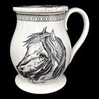 Very Rare Black Transferware TREACLE POT JAR ~ Horses 1850