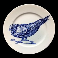 RARE Gustav Leonce Blue Transferware Large Plate ~ 1890