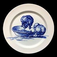 RARE Gustav Leonce Blue Transferware Plate ~ Curious Chicks 1890