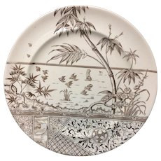 1883 ~ Brown Transferware Plate ~ Melbourne 1883