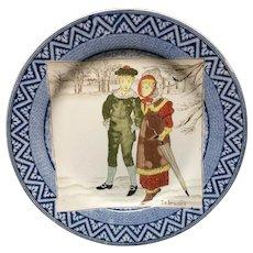 1878 ~ Wedgwood Months Plate ~ FEBRUARY ~ Winter Walk